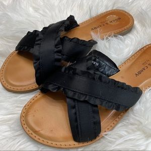 Rock & Candy Black Balbine Ruffle Sandals